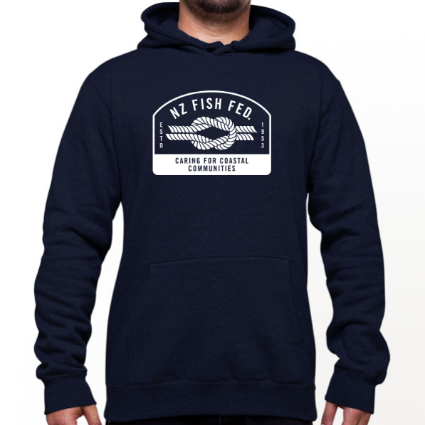 NZ Fish Fed Men's Hoodie Reverse Logo