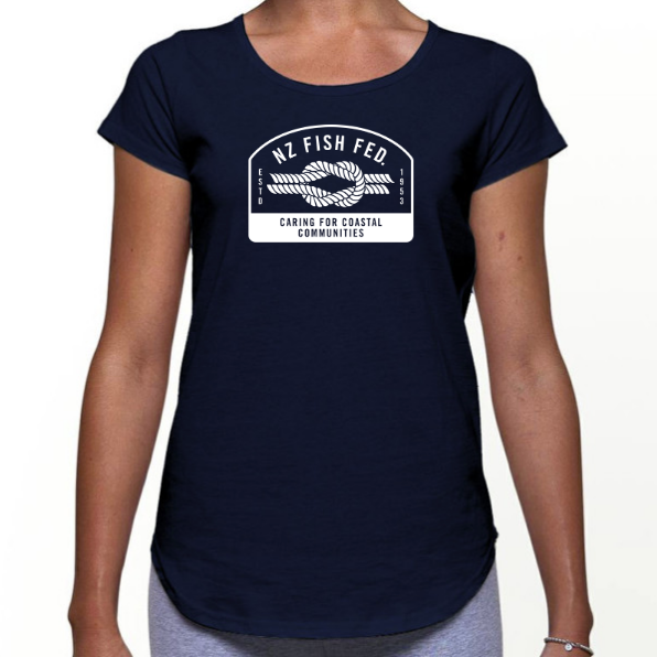 NZ Fish Fed Women's T-Shirt Reverse Logo
